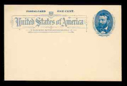 U.S. Scott # UX  11, 1891 1c Ulysses S. Grant, blue on grayish white - Mint Face Postal Card
