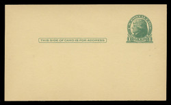 U.S. Scott # UX  27CAN/UPSS # S37EC, 1914 1c Thomas Jefferson, green on canary - Mint Face Postal Card