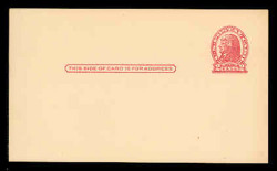 U.S. Scott # UX  29, 1917 2c Thomas Jefferson, red on cream, Die 1 - Mint Face Postal Card