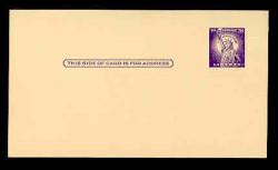 "U.S. Scott # UX  46a/UPSS #S63a, 1958 3c Statue of Liberty, Missing ""I"" in IN GOD WE TRUST Error - Mint Face Postal Card"