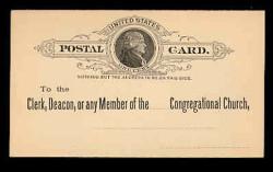 U.S. Scott # UX   9, 1886 1c Thomas Jefferson, black on buff - Unused (Preprinted) Postal Card