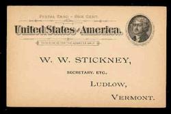 U.S. Scott # UX  12/S14, 1894 1c Thomas Jefferson, Flat Press, black on buff - Unused (Preprinted) Postal Card (See Warranty)