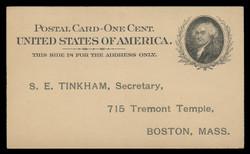 U.S. Scott # UX  15, 1898 1c John Adams, black on buff - Unused (Preprinted) Postal Card