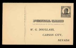 U.S. Scott # UX  20, 1908 1c William McKinley, Square Design (linbe on front), black on buff - Unused (Preprinted) Postal Card