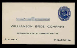 U.S. Scott # UX  21, 1910 1c William McKinley, Background Lines, blue on blue/grey - Unused (Preprinted) Postal Card