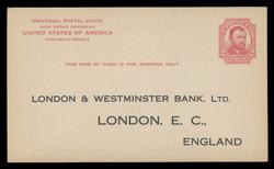 U.S. Scott # UX  25T1, 1911 2c Ulysses S, Grant, red on cream, Type 1 - Unused (Preprinted) Postal Card (See Warranty)