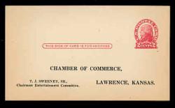 U.S. Scott # UX  30, 1918 2c Thomas Jefferson, red on cream, Die 2 - Unused (Preprinted) Postal Card