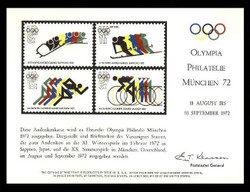 Brookman PS 6/Scott SC21 1972 Munich Olympics (1972) Stamps Souvenir Card