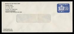 U.S. Scott # U O075/19B, UPSS # OM14/Unw, 1987 22c Official Mail Eagle - Mint, with Printed bank Address (See Warranty)