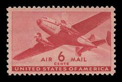 U.S. Scott # C  25, 1941 6c Twin Motored Transport Plane, carmine