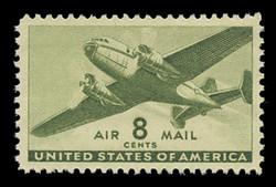 U.S. Scott # C  26, 1944 8c Twin Motored Transport Plane, olive green