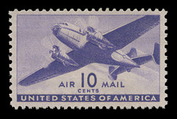 U.S. Scott # C  27, 1941 10c Twin Motored Transport Plane, violet
