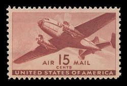 U.S. Scott # C  28, 1941 15c Twin Motored Transport Plane, brown carmine