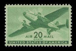 U.S. Scott # C  29, 1941 20c Twin Motored Transport Plane, bright green