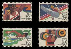 U.S. Scott # C 105-8, 1983 40c Summer Olympics, 1984 Issue (Set of 4 Singles) - Perf. 11.2 Bullseye
