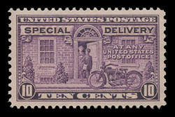 U.S. Scott # E 15, 1927 10c Messenger and Motorcycle - Rotary Press, Perf. 11 x 10 1/2