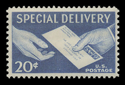 U.S. Scott # E 20, 1954 20c Special Delivery Letter and Hands