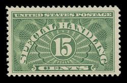 U.S. Scott # QE 2a, 1955 15c Special Handling, Yellow Green - Dry Printing