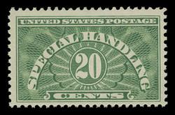 U.S. Scott # QE 3a, 1955 20c Special Handling, Yellow Green - Dry Printing