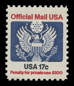 U.S. Scott # O 130, 1983 17c Official Mail Eagle
