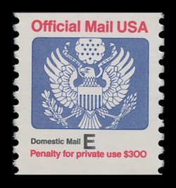 "U.S. Scott # O 140, 1988 (25c) ""Domestic Mail E"" Official Mail Eagle Coil"