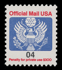 U.S. Scott # O 146, 1991 4c Official Mail Eagle