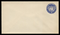 U.N.N.Y. Scott # U  2 S, 1958 4c U.N. Emblem, dark blue - Mint Envelope, Small Size