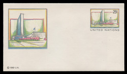 U.N.N.Y. Scott # U  8 S, 1989 25c UNNY Headquarters - Mint Envelope, Small Size