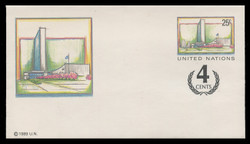 U.N.N.Y. Scott # U  9  S, 1991 25c +4c UNNY Headquarters - Mint Envelope, Small Size