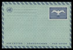 U.N.N.Y. Scott # UC  5a, 1961 11c Plane & Gull, green paper - Mint Air Letter Sheet, Folded