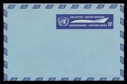 U.N.N.Y. Scott # UC  7, 1968 13c U.N. Emblem & Stylized Plane - Mint Air Letter Sheet, Folded