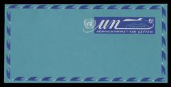 U.N.N.Y. Scott # UC  9, 1972 15c U.N. Emblem, Globe & Plane - Mint Air Letter Sheet, Folded