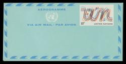 U.N.N.Y. Scott # UC 13, 1977 22c U.N. Emblem & Birds - Mint Air Letter Sheet, Folded