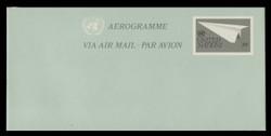 U.N.N.Y. Scott # UC 14, 1982 30c Paper Airplane - Mint Air Letter Sheet, Folded