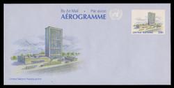 U.N.N.Y. Scott # UC 16, 1989 39c UNNY Headquarters - Mint Air Letter Sheet, Folded