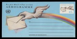 U.N.N.Y. Scott # UC 18, 1992 45c Letter & Winged hand - Mint Air Letter Sheet, Folded