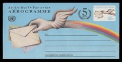 U.N.N.Y. Scott # UC 19, 1995 45c + 5c Letter & Winged Hand - Mint Air Letter Sheet, Folded