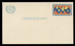 U.N.N.Y Scott # UX  3, 1963 4c World Map - Mint Postal Card