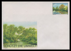 U.N.VIEN Scott # U  2, 1995 7s Landscape, River Scene - Mint Envelope