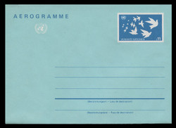 U.N.VIEN Scott # UC  3, 1987 11s U.N. Emblem & Birds  - Mint Air Letter Sheet, Folded