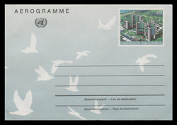 U.N.VIEN Scott # UC  5, 1992 12s Donaupark, Vienna  - Mint Air Letter Sheet, Folded