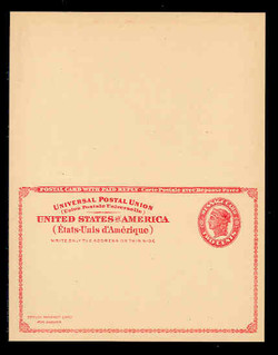 U.S. Scott # UY 11 1924 2c Liberty Head (Red) - Mint International Message-Reply Card - UNFOLDED (See Warranty)