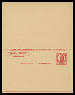 U.S. Scott # UY 12  Sep. 2, 1926 3c McKinley - Mint Message-Reply Card - UNFOLDED (See Warranty)