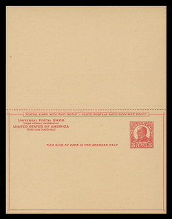 U.S. Scott # UY 12  Sep. 5a, 1926 3c McKinley - Mint Message-Reply Card - UNFOLDED (See Warranty)