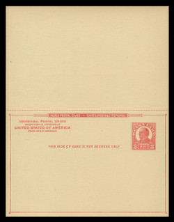 U.S. Scott # UY 12  Sep. 6, 1926 3c McKinley - Mint Message-Reply Card - UNFOLDED (See Warranty)