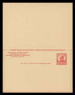 U.S. Scott # UY 12  Sep. 7, 1926 3c McKinley - Mint Message-Reply Card - UNFOLDED (See Warranty)