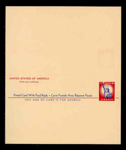 U.S. Scott # UY 16 Sep. 2, 1956 4c Statue of Liberty - Mint International Message-Reply Card - UNFOLDED (See Warranty)
