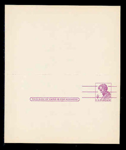 U.S. Scott # UY 18  T1, 1962 4c Abraham Lincoln, Precancelled - Mint Message-Reply Card - UNFOLDED (See Warranty)