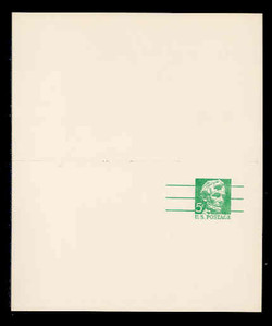 U.S. Scott # UY 21, 1968 5c Abraham Lincoln, Precancelled - Mint Message-Reply Card - UNFOLDED