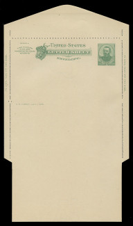 U.S. Scott # U 293, 1886 2c Grant, green on creamy white - Letter Sheet, UNFOLDED (See Warranty)